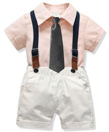 Pre Order - Awabox Half Sleeves Shirt With Shorts & Suspenders With Striped Tie - White