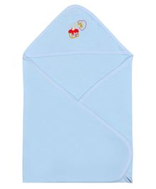 Lula Embroidered Double Ply Hooded Cotton Baby Blanket - Sky Blue