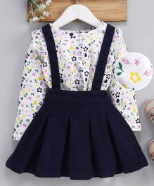 Babyhug Corduroy Dungaree Style Pleated Frock With Inner Tee Floral Print - White Navy Blue