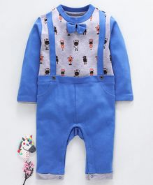 Mom's Love Full Sleeves Robot Print Romper With Bow Applique - Blue Grey