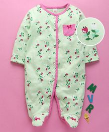 Baby Naturelle & Me Full Sleeves Footed Romper Floral Print - Green
