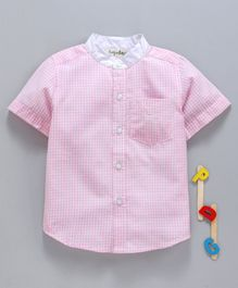Hugsntugs Half Sleeves Checked Contrast Stand Collar Shirt - Pink