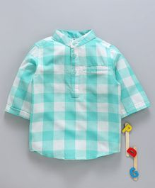 Hugsntugs Full Sleeves Checked Shirt With Front Pocket - Green