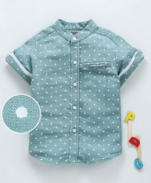 Hugsntugs Half Sleeves Polka Dot Print Chinese Collar Neck Shirt - Green
