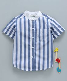 Hugsntugs Half Sleeves Striped Shirt With Front Pocket - Blue