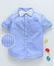 Hugsntugs Half Sleeves Striped Shirt With Bow - Blue