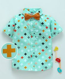 Hugsntugs Half Sleeves Plus Print Shirt With Bow - Green