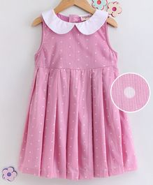 Hugsntugs Sleeveless Polka Dot Print Peter Pan Collar Neck Dress - Pink