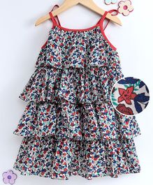 Hugsntugs Sleeveless Floral Print Layered Dress - Multi Colour