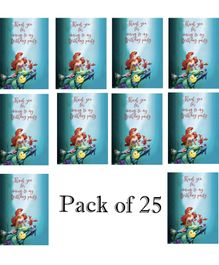 Funcart Little Mermaid Birthday Party Thank You Cards Teal - Pack of 25