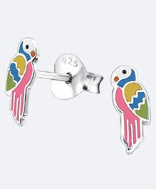 Aww So Cute Parrot Design 925 Sterling Silver Earrings - Multi Colour