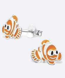 Aww So Cute Fish Design 925 Sterling Silver Earrings - Orange