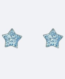 Aww So Cute Star Design 925 Sterling Silver Studded Earrings - Blue