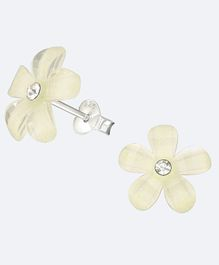 Aww So Cute Flower Design 925 Sterling Silver Studded Earrings - Off Whitee
