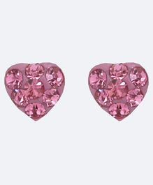 Aww So Cute Heart Design 925 Sterling Silver Studded Earrings - Pink