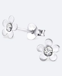 Aww So Cute Flower Design 925 Sterling Silver Studded Earrings - White
