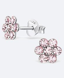 Aww So Cute Flower Design 925 Sterling Silver Studded Earrings - Pink
