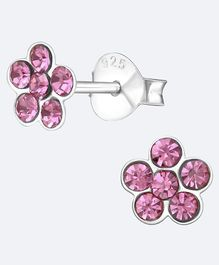 Aww So Cute Flower Design 925 Sterling Silver Earrings - Pink