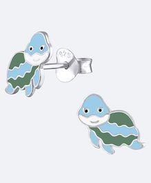 Aww So Cute Turtle Design 925 Sterling Silver Earrings - Multi Colour