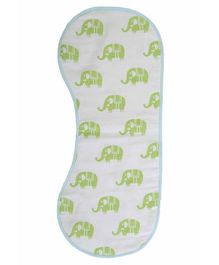Mi Dulce An'ya Organic Muslin Absorbent Burp Cloth - Blue & Green