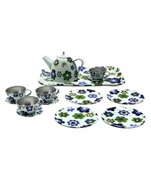 GetBest Tin Tea Set Floral Print Green - 15 Pieces