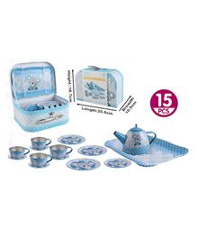 GetBest Tin Tea Set Floral Print Blue - 15 Pieces