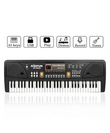 GetBest Multi Function Piano Keyboard With Microphone & Charger - Black