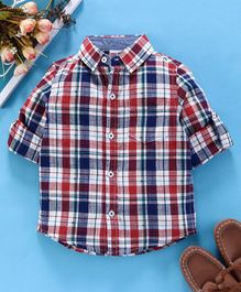 Babyhug Full Sleeves Checked Shirt - Red