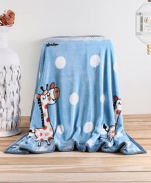 Babyhug Premium Reversible Plush Soft & Warm Double Layer Blanket Giraffe Print - Blue