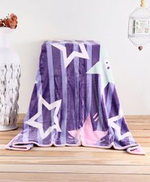 Babyhug Reversible Plush Soft & Warm Double Layer Blanket Star Print - Blue