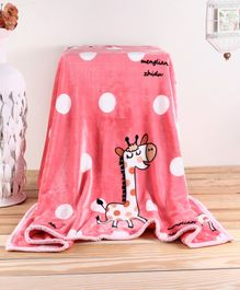 Babyhug Premium Reversible Plush Soft & Warm Double Layer Giraffe Blanket - Pink