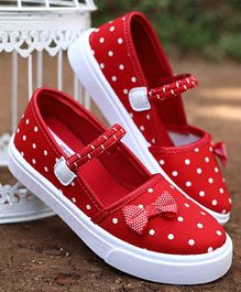 D'Chica Polka Dot Print Play Wear Shoes - Red