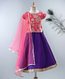 Meringue Floral Brocade Cap Sleeves Choli & Lehenga With Net Dupatta - Pink & Purple