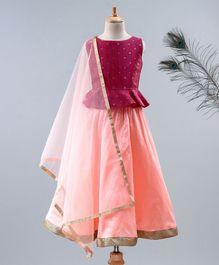 Meringue Butik Sleeveless Peplum Choli & Lehenga With Net Dupatta - Pink & Peach