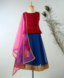 Meringue Motif Print Sleeveless Choli With Lehenga & Net Dupatta - Pink & Blue