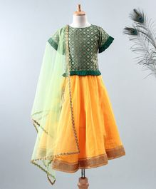 Meringue Brocade Half Sleeves Frill Choli With Lehenga & Dupatta - Green & Yellow