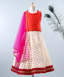 Meringue Gold Motif Sleeveless Top With Chanderi Print Lehenga & Net Dupatta - Orange & White
