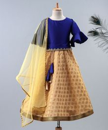 Meringue Solid Half Ruffled Sleeves With Chanderi Print Lehenga & Net Dupatta - Blue & Beige
