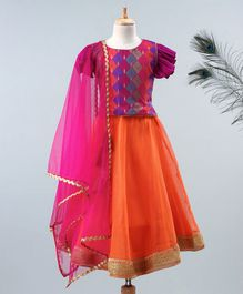 Meringue Motif Short Butterfly Sleeves Choli With Lehenga & Net Dupatta - Orange & Purple