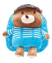 EZ Life Teddy Design Plush Backpack Blue - 11.8 inches