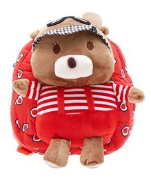 EZ Life Teddy Design Plush Backpack Red - 11.8 inches
