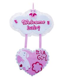 EZ Life Welcome Baby Girl Wall Hanging - Pink