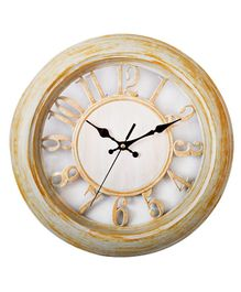 EZ Life Woody Analog Wall Clock - Cream