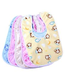 Brandonn Double Layered Waterproof Bibs Set Of 5 - Multicolor