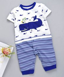 Kookie Kids Half Sleeves Romper Fish Print & Embroidered - White Blue