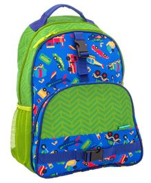 Stephen Joseph School Bag Vehicle Print Blue Green - Height 14.5 inches