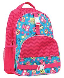 Stephen Joseph School Bag Owl Print Blue Pink - Height 14.5 inches