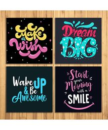 Wens Inspirational Quotes Laminated Wall Panels Set of 4 - Multicolor