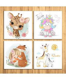 Wens Cute Cartoon Sparkle Laminated Wall Panels Set of 4 - Multicolour