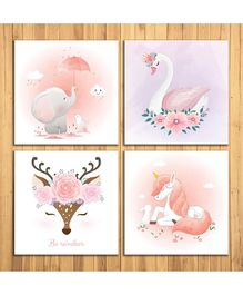 Wens Sparkle Laminated Wall Panels Animal Kingdom Print Set of 4 - Peach White